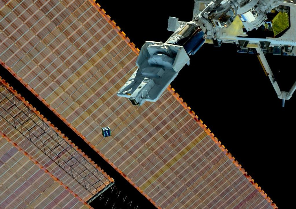 Deployment of a CubeSat from the ISS. Photo: NASA/JAXA